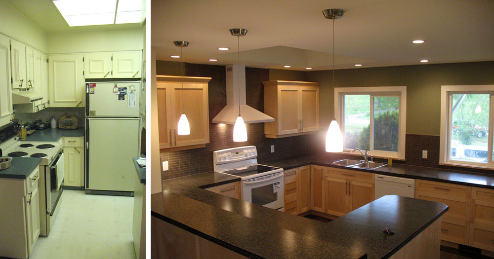 before kitchen and after kitchen reno